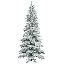 Flocked Utica Fir 6.5' White Artificial Christmas Tree with 270 LED Warm White Lights with Stand