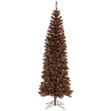 7.5' Mocha Artificial Pencil Christmas Tree with 400 Clear Mini Lights
