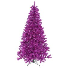 7' Purple Artificial Christmas Tree with 500 Purple Mini Lights with Stand