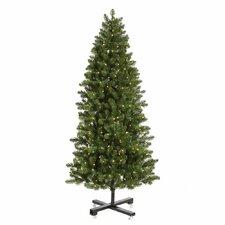 Grand Teton 7.5' Slim Green Artificial Christmas Tree with 650 LED White Lights