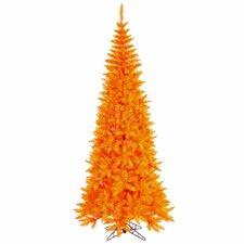 6.5' Orange Fir Slim Artificial Halloween/Christmas Tree with Orange Lights