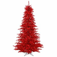 6.5' Tinsel Red Fir Artificial Christmas Tree with 600 Mini Red Lights