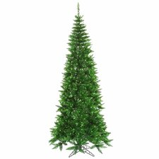 4.5' Tinsel Green Slim Fir Artificial Christmas Tree with 200 Mini Lights