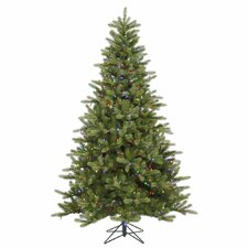 King 7.5' Green Spruce Artificial Christmas Tree with 700 LED Multicolored Lights with Stand