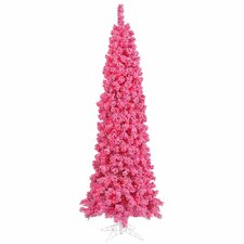"6' 5"" Pink Flocked Pine Artificial Christmas Tree 250 Mini Lights"