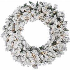 Flocked Snow Ridge Sprays Wreath with 50 Dura-Lit Lights