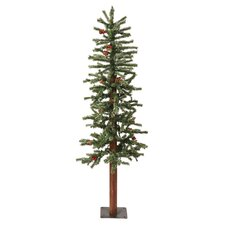 6' Green Alpine Berry Artificial Christmas Tree with 250 LED White Lights and Frosted