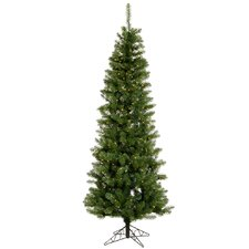 Salem Pencil Pine 7.5' Green Artificial Christmas Tree with 270 Warm White LED Lights with Stand