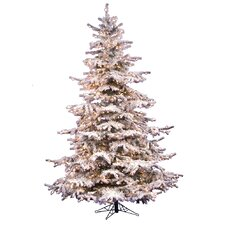 Flocked Sierra Fir 8.5' White Artificial Christmas Tree with 850 Clear Lights with Stand