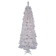 White Salem Pencil Pine 4.5' Artificial Christmas Tree with 90 LED Warm White Lights with Stand