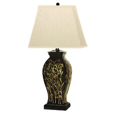 """Long Stem Flowers 29"""" H Table Lamp with Rectangular Shade"""