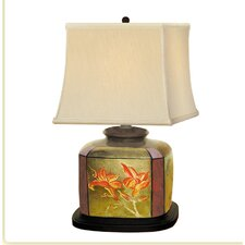 """Metalic Hand Painted Porcelain 24"""" H Table Lamp"""