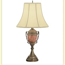 "Burl Loving Cup Hand Painted Metal 32"" H Table Lamp"
