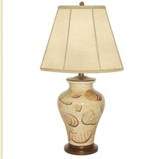 """Motile Shell Hand Painted Porcelain 29"""" H Table Lamp"""