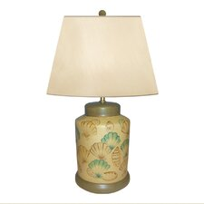 """Fan Shell Hand Painted Porcelain 21"""" H Table Lamp"""