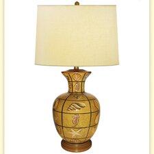 "Plaid Multi Shells Hand Painted Porcelain 34"" H Table Lamp"