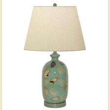 """Seafoam Shell Hand Painted Porcelain 30"""" H Table Lamp"""
