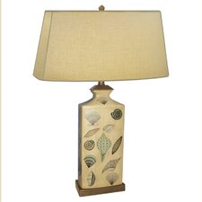 """Rectangle Shell Hand Painted Porcelain 30"""" H Table Lamp"""