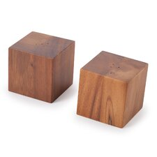 Acacia Cube Salt & Pepper Shakers