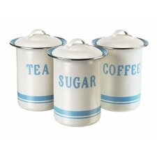 3 Piece Vintage Inspired Coffee, Tea and Sugar Tin Set