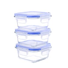 Go Green Glasslock Elements 10 Oz.Square Oven Safe Glass Food Storage Container (Set of 3)