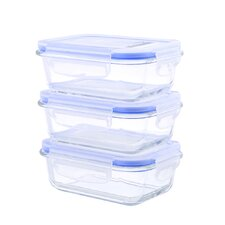 Go Green Glasslock Elements 12 Oz. Rectangular Oven Safe Glass Food Storage Container (Set of 3)