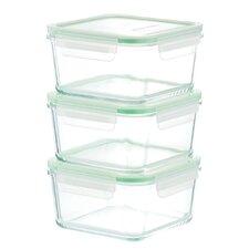 Go Green Glassworks 3-Piece Food Storage Container Set (Set of 3)