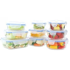Go Green Glasslock Elements 18-Piece Oven Safe Glass Food Storage Container Set