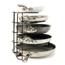 Brushed Steel Wire 5 Tier Pan Organizer Rack