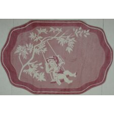 Supreme Pink Toile Red/White Area Rug