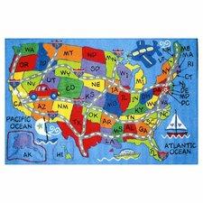 Fun Time Travel Map Area Rug