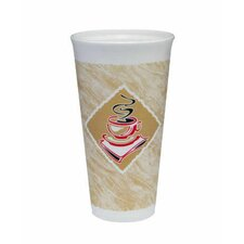 20 Oz Café G Design Foam Hot / Cold Cups in White / Brown with Red Accents (Pack of 20)