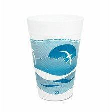 32 Oz Printed Horizon Foam Hot / Cold Cup 25 / Bag in Aqua / White