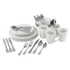 Satin Weave Service for 4  Dinnerware/Flatware Set
