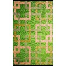 Squares Reversible Green/Beige Outdoor Area Rug