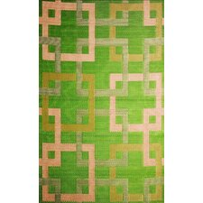 Squares Reversible Design Green/Beige Outdoor Area Rug