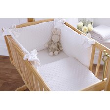 Dimple Rocking Cradle Quilt and Bumper Set in White