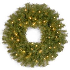 Norwood Fir Pre-Lit Wreath with 50 Battery-Operated Lights