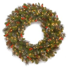 Crestwood Spruce Pre-Lit Wreath with 50 Battery-Operated White LED Lights