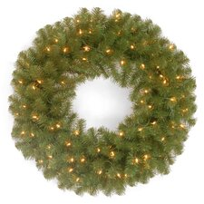 North Valley Spruce Pre-Lit Wreath with 50 Clear Lights
