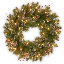 Glittery Mountain Pre-Lit Spruce Wreath with 50 Battery-Operated White LED Lights