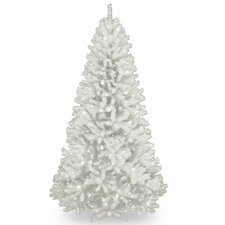 North Valley Spruce 7' White Artificial Christmas Tree with 550 Clear Lights and Stand