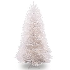 Dunhill Slim Fir 7.5' Hinged White Artificial Christmas Tree with 750 Clear Lights