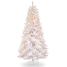 Dunhill Slim Fir 7.5' Hinged White Iridescent Artificial Christmas Tree with 600 Clear Lights
