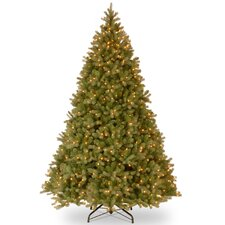 """Downswept Douglas Fir 10"""" Green Artificial Christmas Tree with Clear Lights with Stand"""