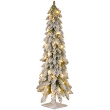 4' White Downswept Artificial Christmas Tree with 100 Colored & Clear Lights