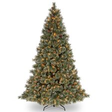 Glittery Bristle Pine 7.5' Green Artificial Christmas Tree with 750 Pre-Lit Clear Lights with Stand