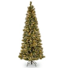 Glittery Bristle Pine 7.5' Green Slim Artificial Christmas Tree with 500 Clear Lights