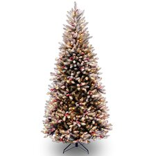 Dunhill Fir Slim 7.5' Hinged Artificial Christmas Tree with 600 Clear Lights