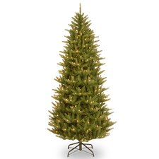 Natural Fraser 7.5' Narrow Green Christmas Tree with 750 Clear Lights and Stand